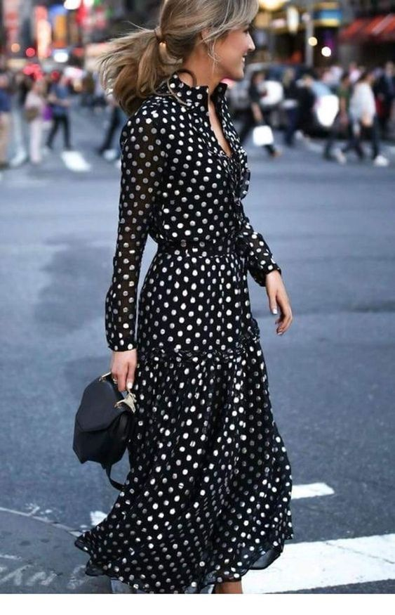 Fashion clothes with polka dots for 30-year-old women