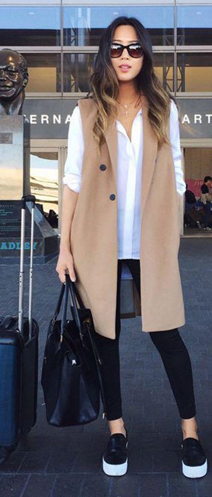 outfit long beige vest