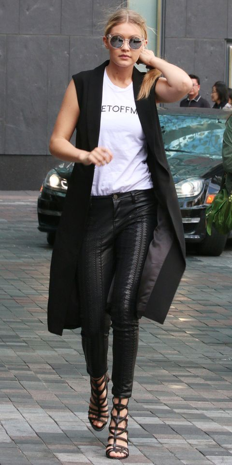 outfit long vest black woman