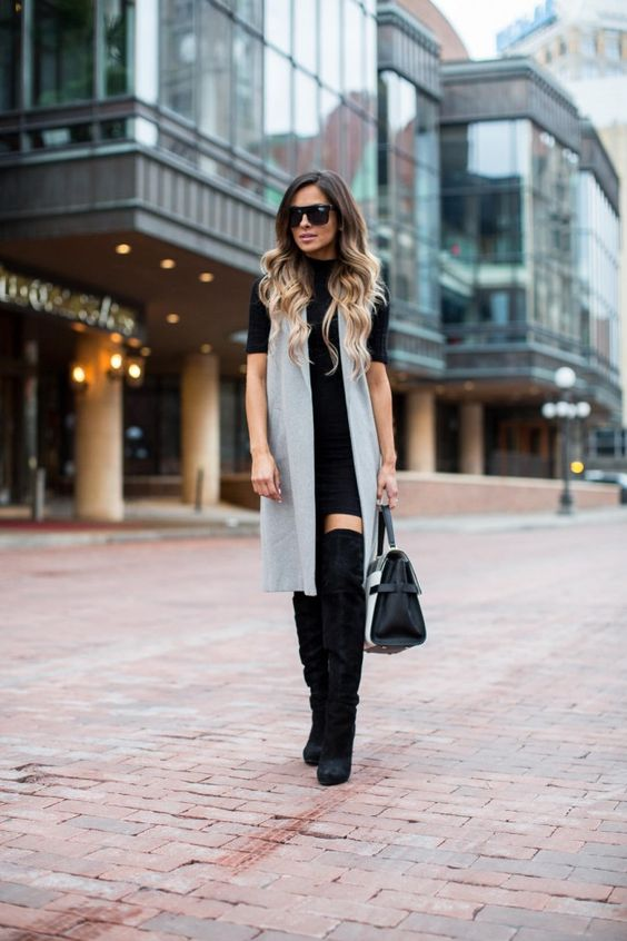 gray long vest outfit