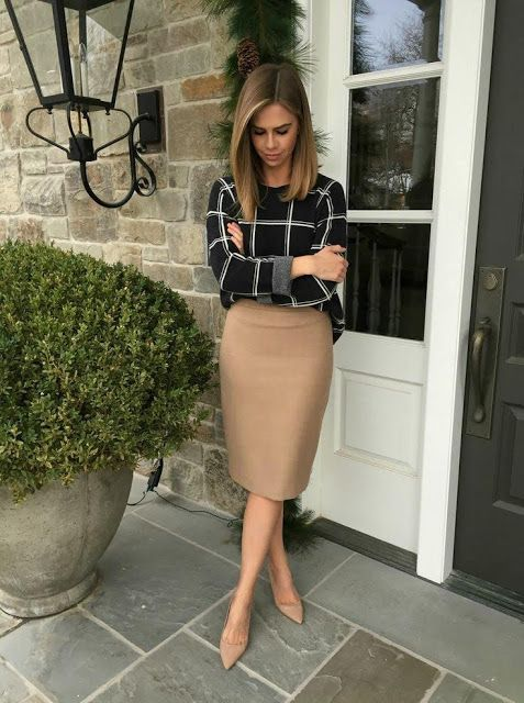 formal look for office young women with skirt