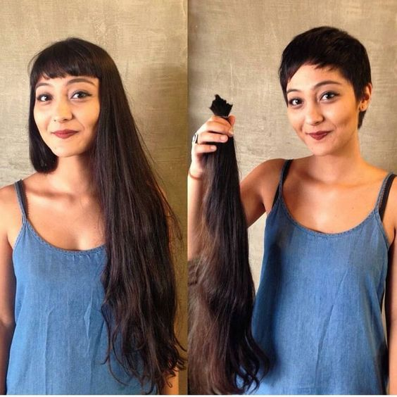 Before and after the pixie cut