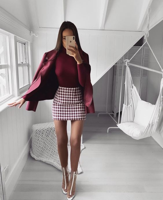 Winter fashion with women's skirt