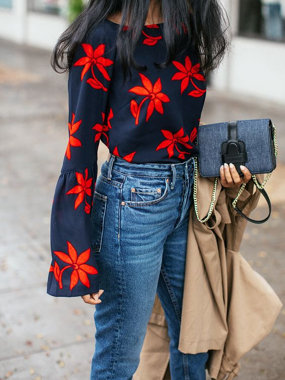 Printed blouses with flowers