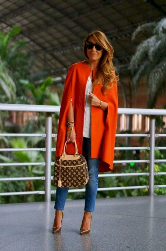outfits in deep orange for women 40