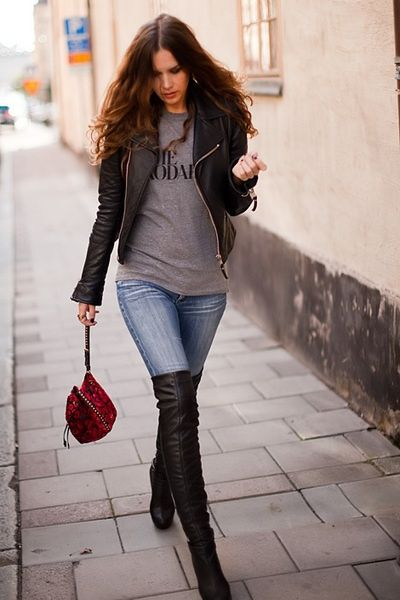 Jeans outfits with long boots autumn - winter 2019