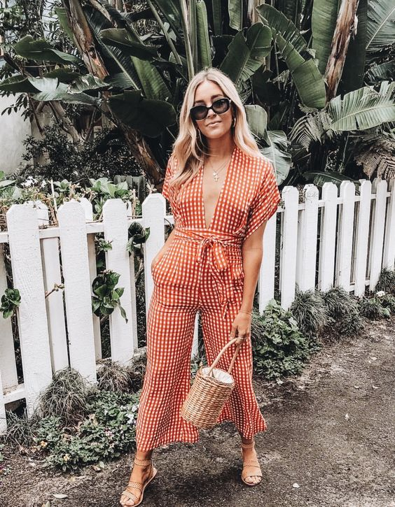 patterned fashion overalls