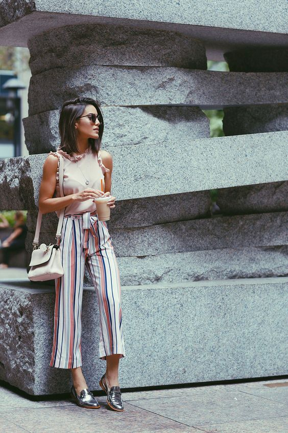 Outfit with Vertical Striped Garments
