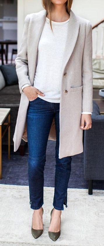 Outfits with long coats winter 2017 - 2018