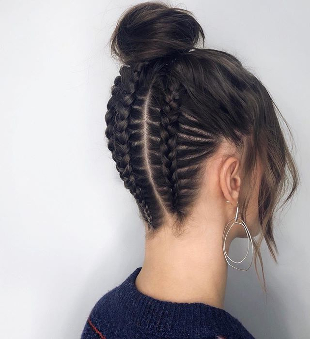 Hair collected with braid and bun