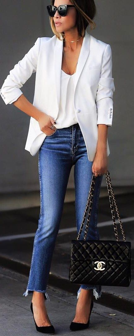 look with jeans and open jackets to hide the lower abdomen