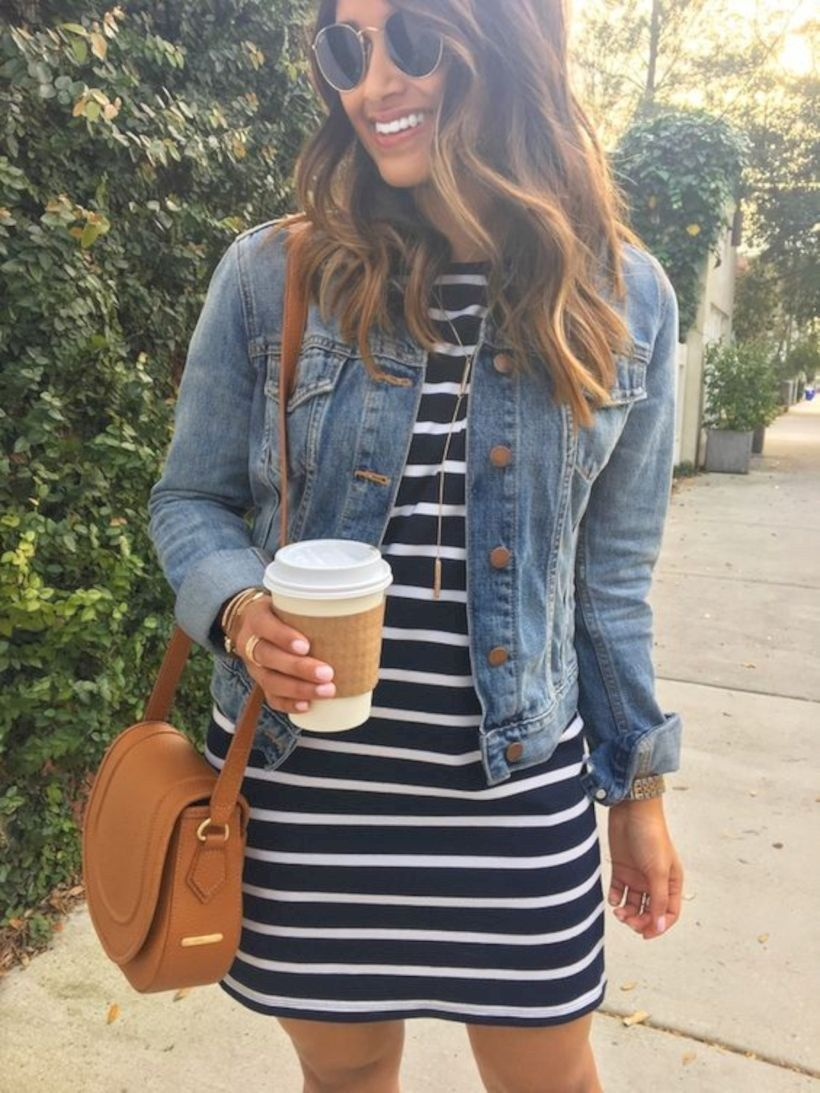 Outfits for 30 year old women with striped dresses