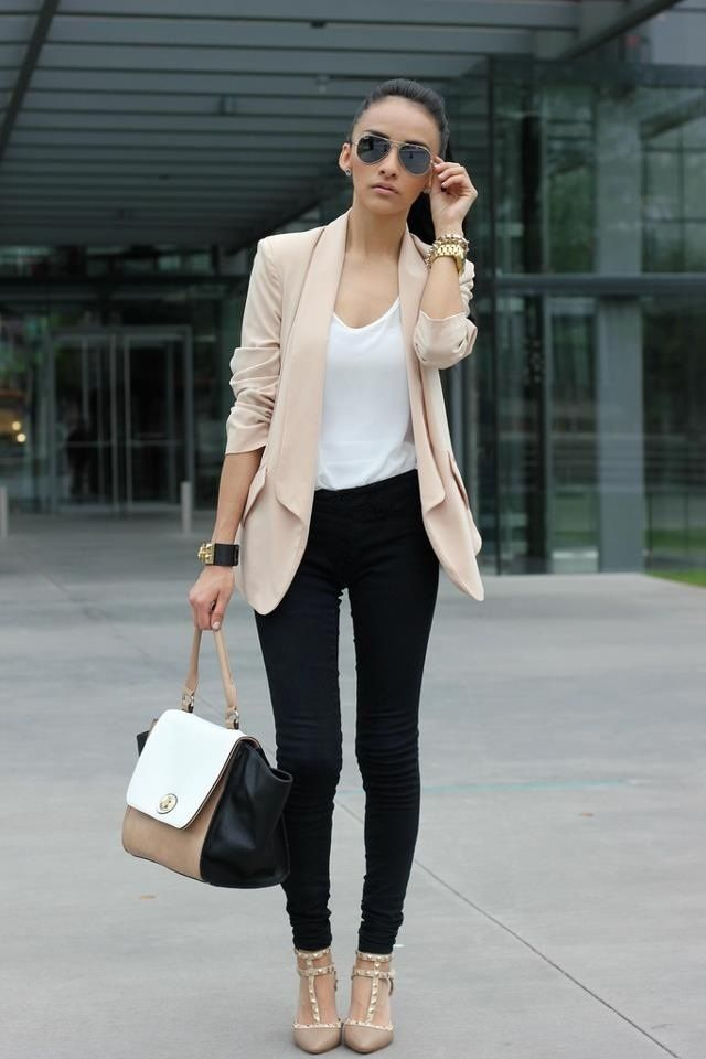 How to wear beige heels with black pants