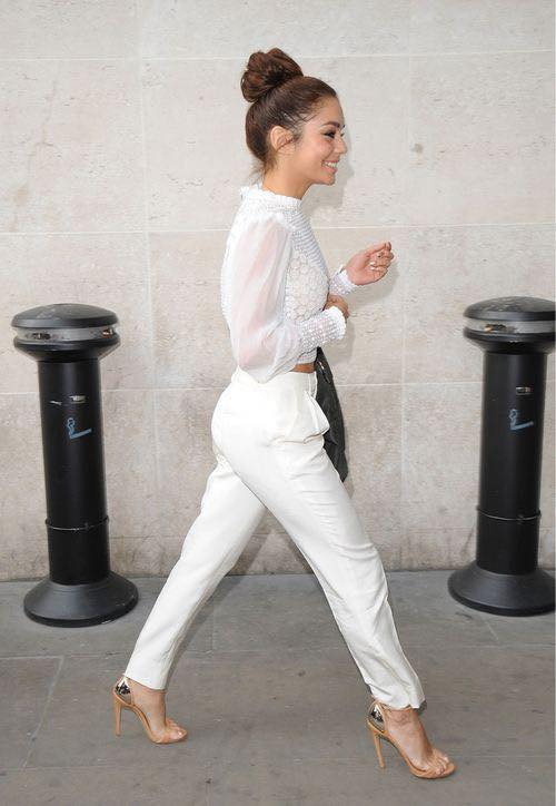 How to wear beige heels with a white blouse and pants