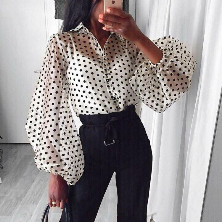 Semi-sheer blouse with puffed sleeves