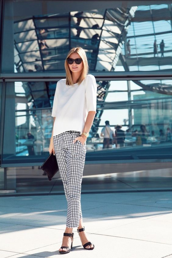 Casual outfit with plaid dress pants for women 40 years and older
