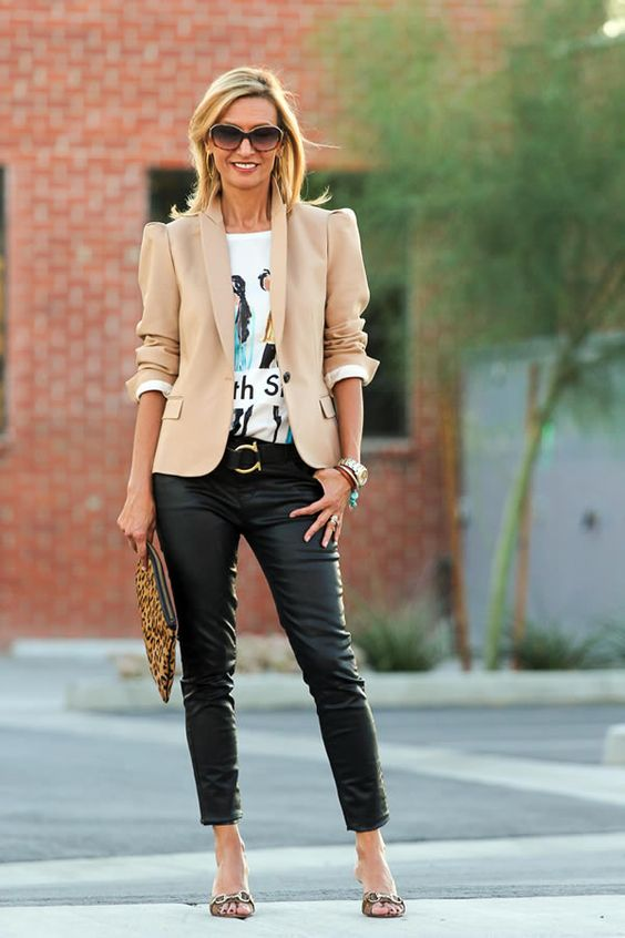 Look with a blazer and stylish leather pants if you are 40 years old or older