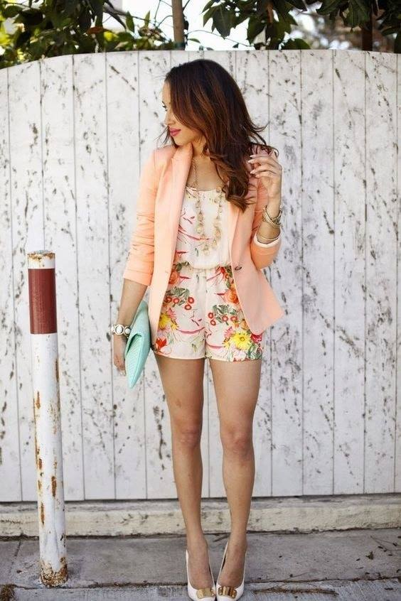Outfits with shorts and blazer with flowered set