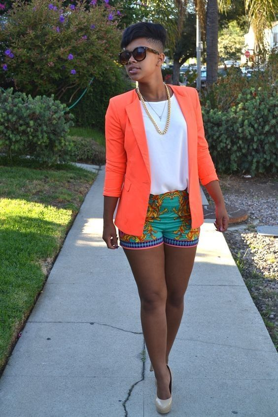 Outfits with shorts and neon color blazer