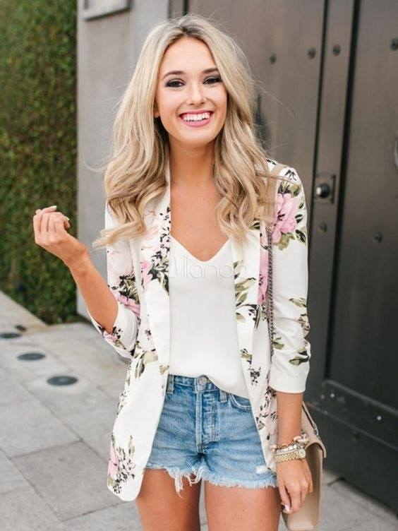 Outfits with shorts and blazer with basic outfit