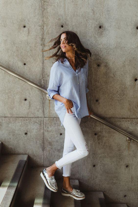 Casual outfit with white and blue combination
