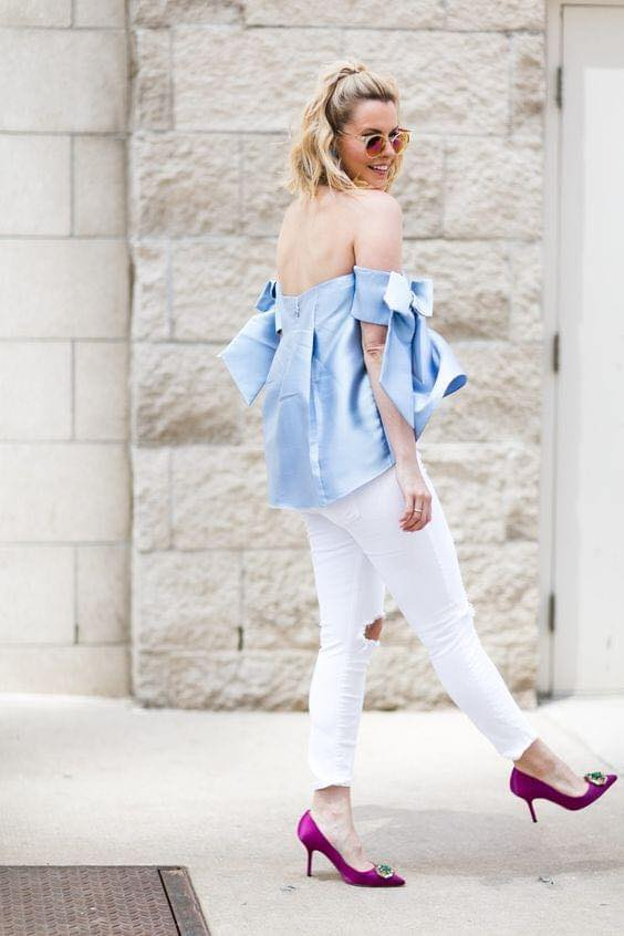 Off-the-shoulder blouse with white and blue combination for women 40 years and over