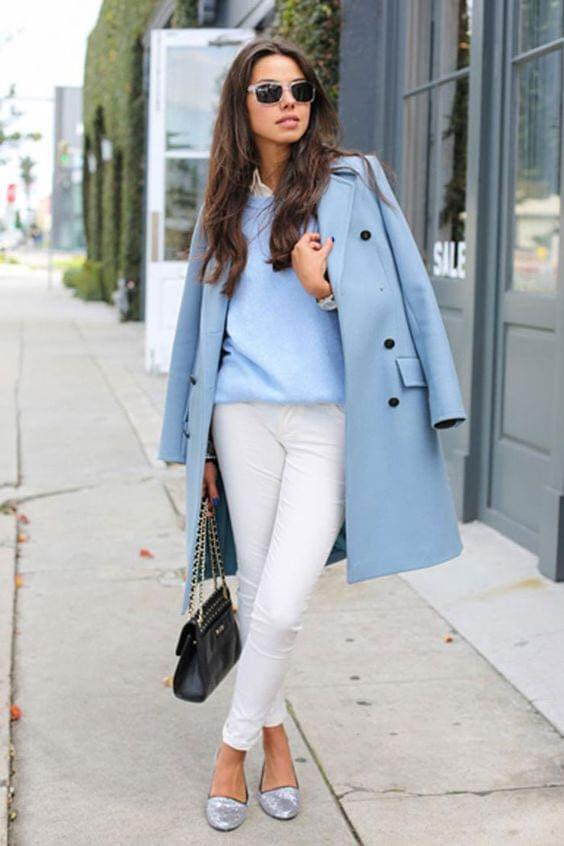 Look with jacket for white and blue combination