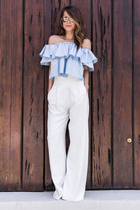 Outfit of blouse with ruffles and dress pants