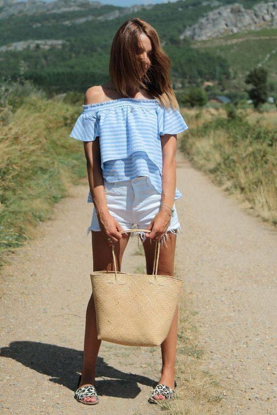 Outfit with shorts and blue blouse for women