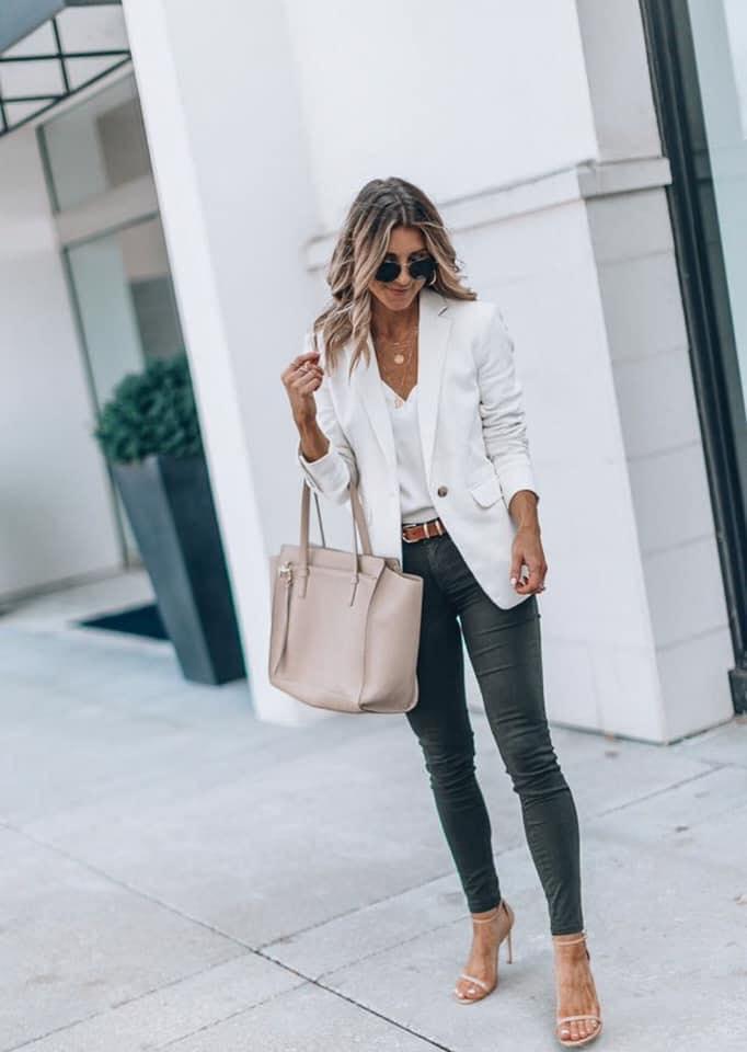 White blazer for formal office attire