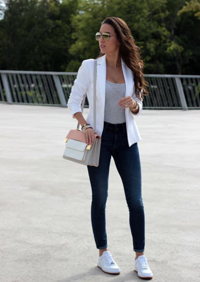 Outfit with tennis and blazer for office