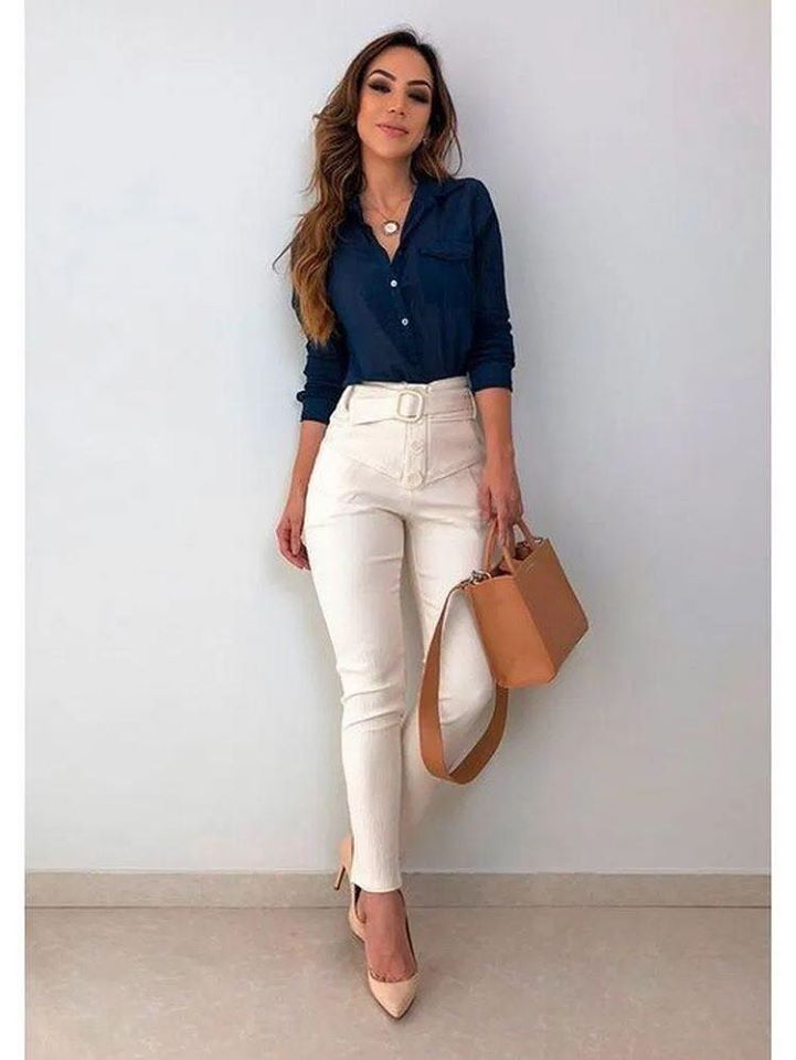 Formal office outfit look with fitted dress pants