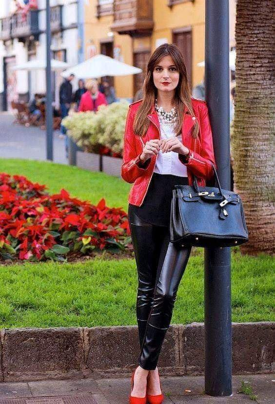 Red leather jacket for outfit