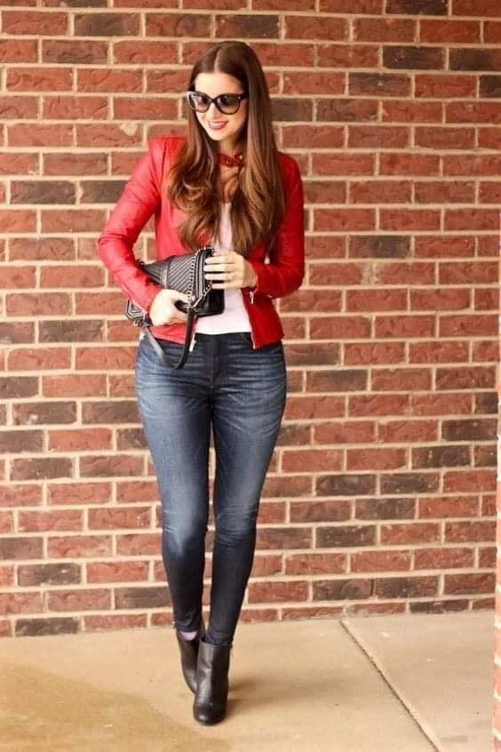 Casual outfit with red jacket and dark jeans