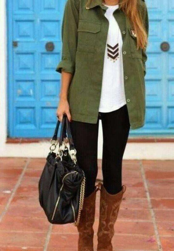 Outfit with army green jacket for women