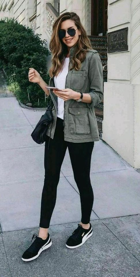 Military green jacket look with leggings