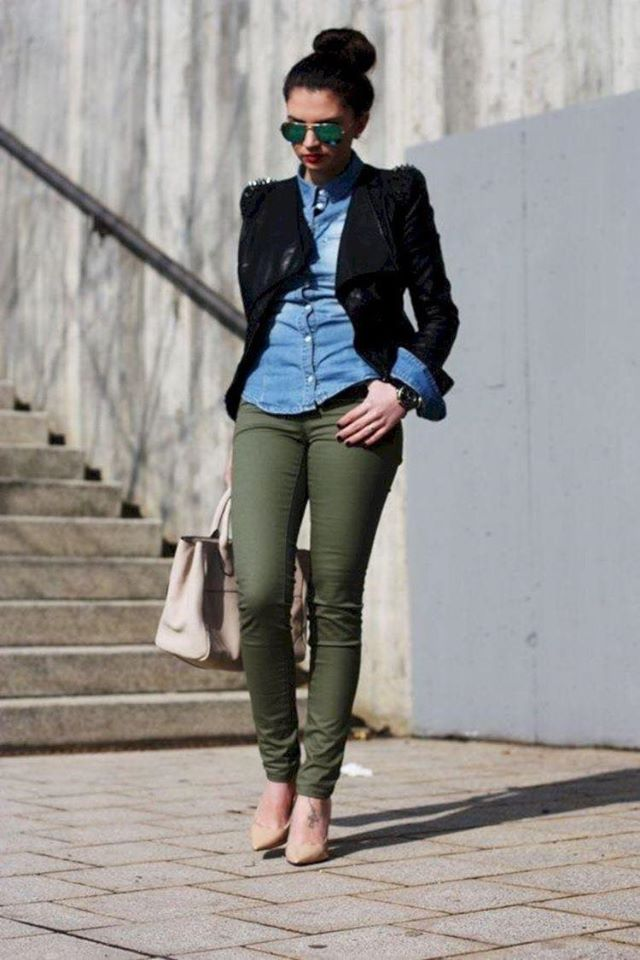 How to wear military green pants with denim