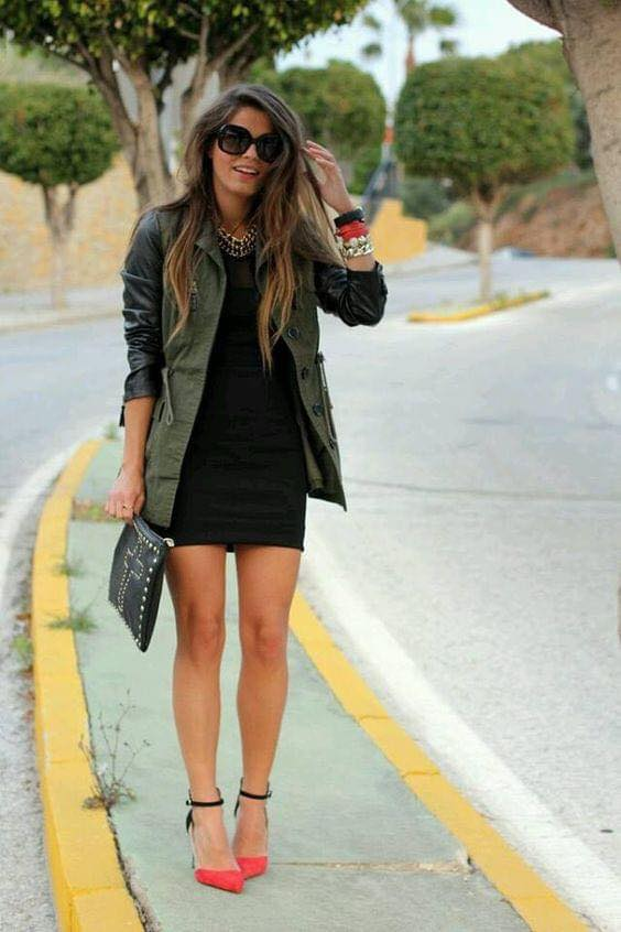 Look with black dress and military green jacket