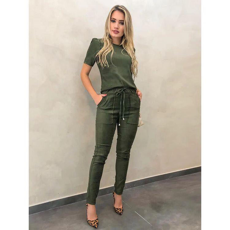 Army green blouse and pants outfit