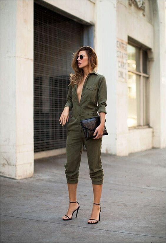 Army green denim jumper