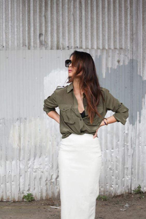 Look of military green blouse with white skirt