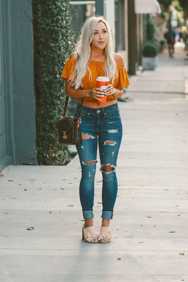 Drop shoulder blouse for fall look