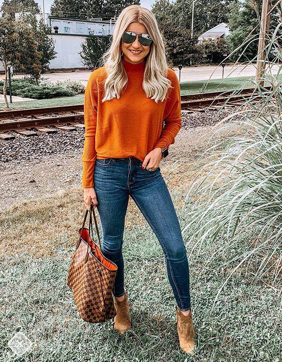 High Neck Long Sleeve Blouse for Fall