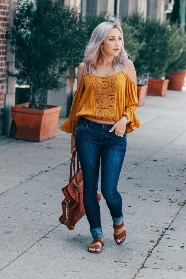 How to wear an off the shoulder blouse for mature women