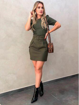 Army green dress outfit