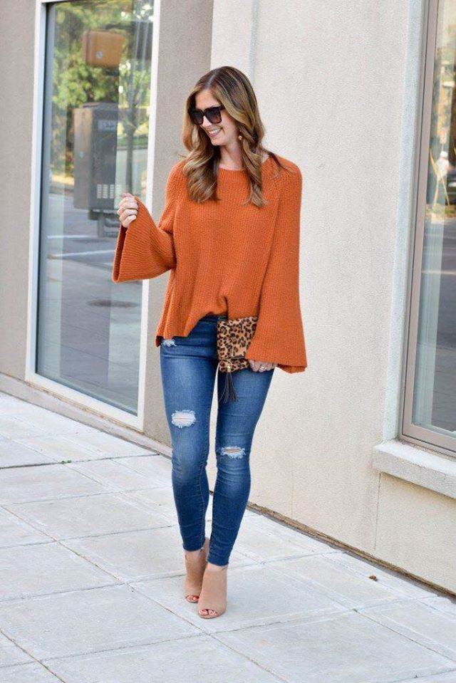 Autumn color maxi sweater for women
