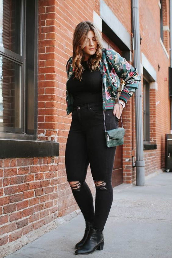 Outfit ideas with plus size black jeans