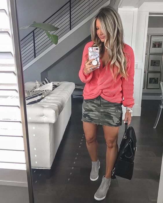 Outfit ideas with camo skirts