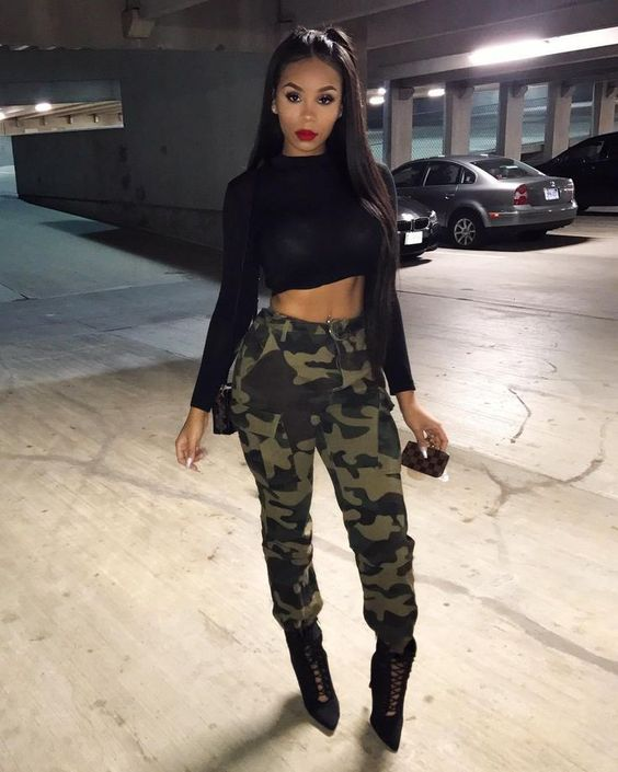 Looks with military style pants for mature women