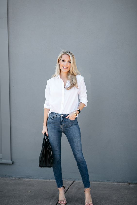 Ideas to wear your white shirts all year round if you are a woman of 40 or more